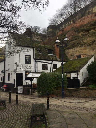 Oldest inn in England! On top of the hill to the right is the castle