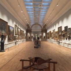 Long gallery of paintings