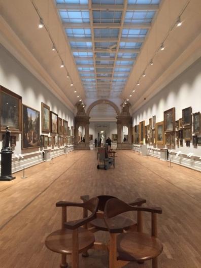 Long gallery of paintings