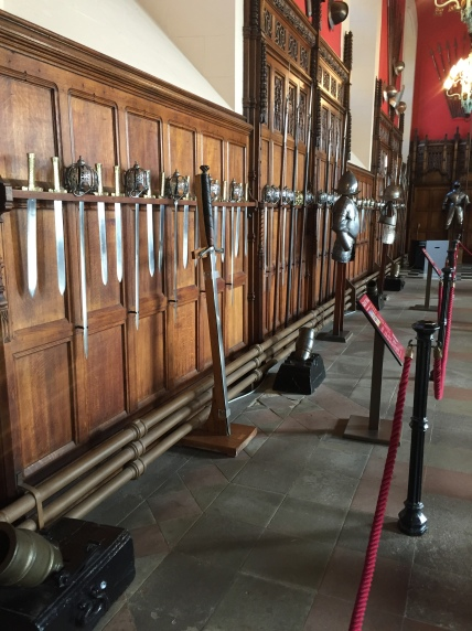 swords! weapons! lined each wall in the great hall