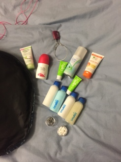 all my little toiletries that are supposed to last me 39 days....I am going to stink!